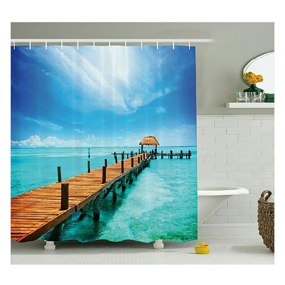 Dock By Ocean Scene Shower Curtain